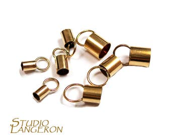 14K Gold filled tube End Caps, Tube end caps, Gold filled end cap, End cap, 14K Gold Filled, size from 0.6 to 6.6 mm - 1 pair (2 piece)