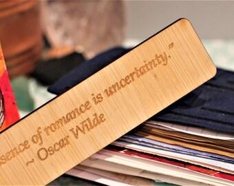 Romantic Valentines Wooden Bookmark Oscar Wilde Love Quote