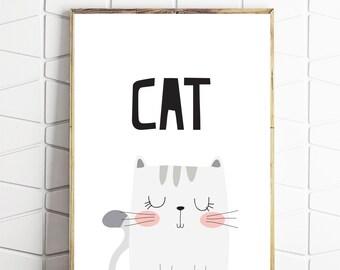 cat art, cat printable, cat home decor, cat wall print, instant cat art, digital cat print, cat download