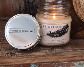 Mango & Tangerine Soy Candle, All Natural Soy Candle, 8oz, The Farmer's Market @ The Ruffled Feather Candle Co.