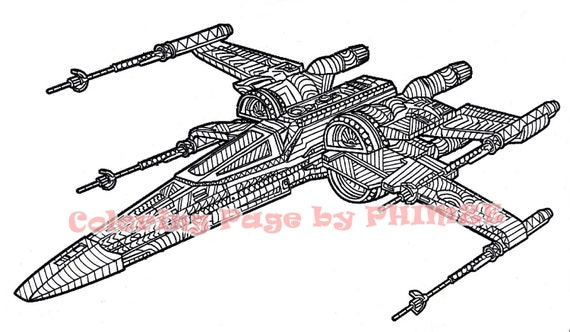 x wing starfighter star wars star wars coloring page coloring pages adult coloring pages pen and ink art pdf zentangle coloring page - Star Wars Coloring Pages For Adults