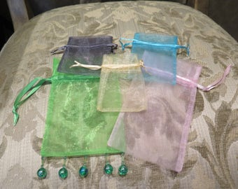 Easter Gift Jewelry Bags Butterfly Organza Lot of 5 Gift Travel See All Photos