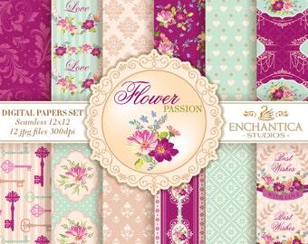 Digital Paper Floral, Floral Digital Papers, Shabby Chic Digital Paper, Flowers Digital Paper, Digital Paper Vintage, Pink Digital Paper