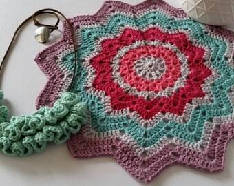 Crochet mandala, doilies, mandala, colourful crochet mandala.