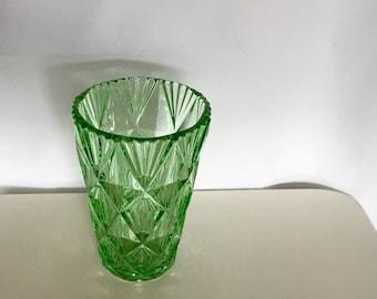 Green glass vintage vase