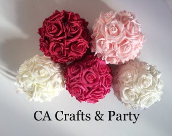 Foam rose kissing ball 6.5 inch or 8 inch foam rose flower ball- wedding table centerpieces- pomander foam roses.
