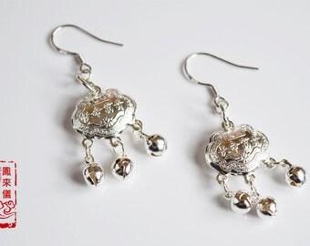 Flyin Chinese longevity lock earrings, sterling silver pendant, Asian earrings