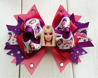 Barbie Hair Bow/Barbie Hair Clip/Barbie Barrette/Barbie Hair Accessory/Character Hair Bow/Character Barrette/Party Hair Bow/Barbie