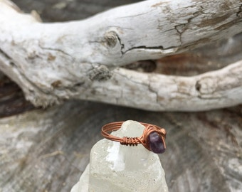 amethyst wrapped in copper size 6.5 ring