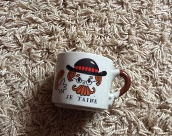 Unusual Vintage Novelty French Mug 'Je Taime' I Love You Valentines!