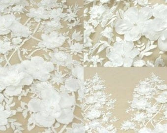 3D flower lace fabric,bridal lace fabric,beaded lace fabric,embroidery lace,guipure lace,wedding fabric,lace trim,lace fabric by the yard