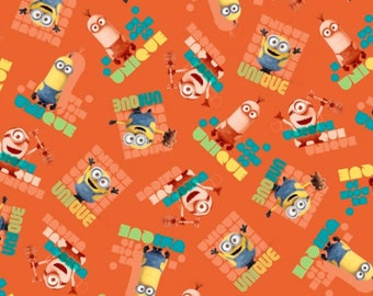 Minions Fabric- Minions Le Buddies Unique Toss Fabric Orange From Quilting Treasures