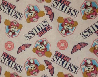 Paw Patrol Fabric- Paw Patrol Pup to the Skies on Pink Fabric From David Textiles