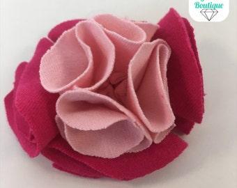 Magenta & Pink Fabric Flower Hair Clip