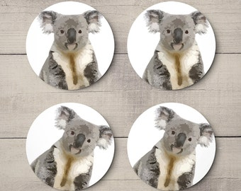 Australian Koala - Souvenir - Birthday Party - Weddings - Events - Favours - Gifts - Drinks Round Drinks Coasters - Bar Decor Set 4