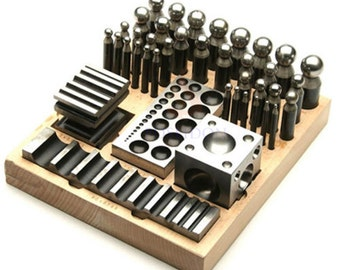 41-Piece Metal Forming Dapping Doming Punch and Block Set 3.5 mm to 25mm Complete Set