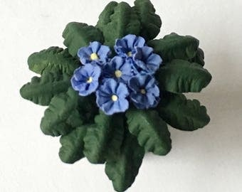 Dollhouse Miniature Periwinkle Blue African Violet Artist Made