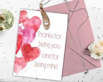 Valentine day card, Printable watercolor love card, Romantic card, Valentines card instant download.