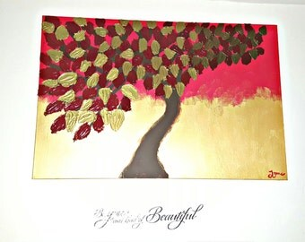 Textured Impasto Acrylic Tree Painting - 24x36inch - Red and Gold
