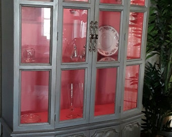Silver Metallic Painted China Cabinet **Shipping NOT Included**