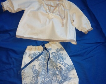 """Made in France. Bloomer-harem pants/shirt set 