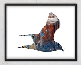 Flying Bird Art Print, Wood Animal Photography Bird, Rustic Print, Woodland Decor, Download Print, Digital Wall Art, Printable Wall Art