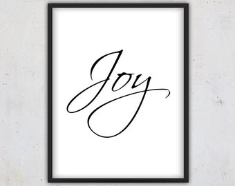 Joy ,Christmas Quote Print, Digital Download Quote Print, Christmas Printable Download, Christmas Gift Wall Art