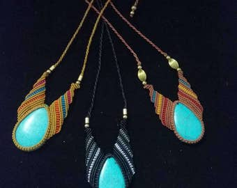 Thai Handmade Macrame Necklace with Turquoise Stone