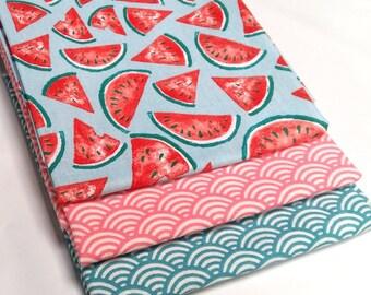 Lot de 3 coupons 50 cm x 50 cm , tissu pastèques turquoise - watermelon -sushis vague japonaise seigaiha rose + bleu canard - coton oeko tex