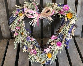 Handmade Rustic Dried Flower Twig Heart Wreath Lavender Wheat