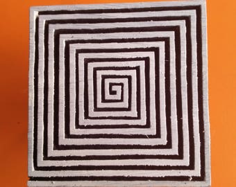 SSBC Vintage Printing Block Textile Fabric Spiral Deep Carved Indian Wooden Stamp 4x4