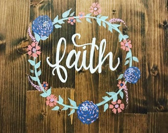 Wooden Hand-Painted Floral Sign