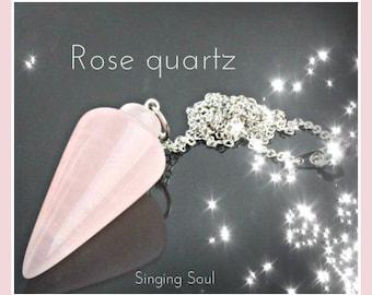 Rose Quartz Pendulum, rose quartz, quartz Pendant, Crystal , Reiki jewelry, healing crystal, pendulum, divine, Dowsing, scrying, dragonfly