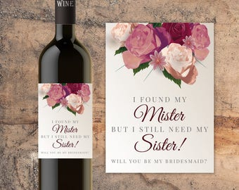 CUSTOM Bridesmaid Gift, Bridesmaid Proposal, Bridesmaid  Bottle Wine Label, I Found My Mister, Asking Bridesmaid, Asking Maid of Honor