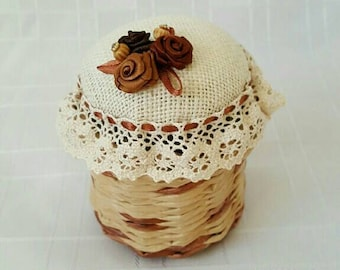 Pincushion Button storage jar Braided storage jar Paper Wicker jar Mother's Day Birthday Gifr