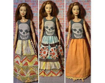 colorful boho, indie,hippie maxi skirt for Barbie, Dynamite Girls, Liv and other fashion dolls
