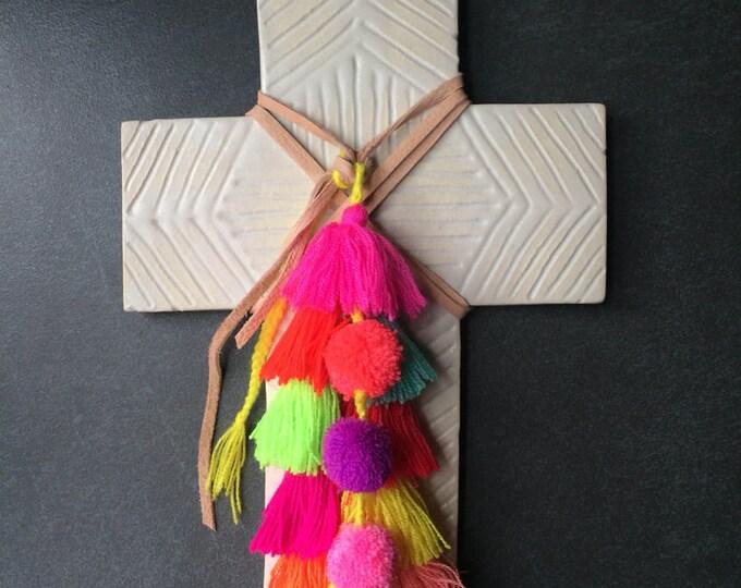 Decorative Ceramic Cross #9 with handcarved carved Geometric design and Fairtrade Tassels & Pom-Pom Trim