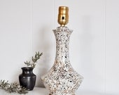 Mid Century Modern Small White, Black and Metallic Gold Speckled Ceramic Table Lamp // Vintage Lighting // Masculine Decor