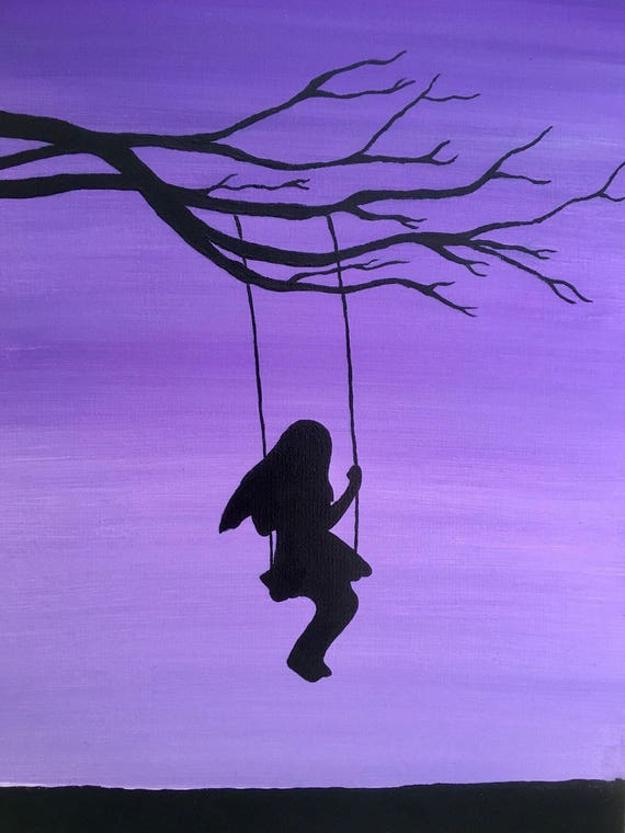Items similar to Girl on Swing Painting Swinging Tree ...