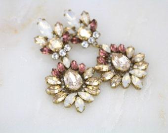 Bridal earrings, Wedding jewelry, Champagne Wedding earrings, Blush Crystal Earrings, Chandelier earrings, White opal earrings, Statement