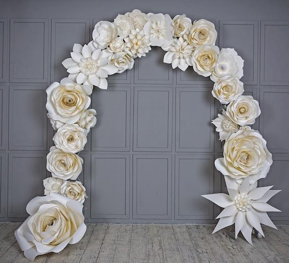Wedding Arch Paper Flowers Venue Decoration White