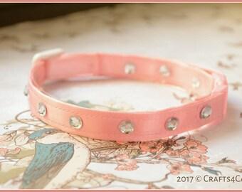 Fancy Cat Collar 'Twinkle Little Star' - Pink Satin with Rhinestones