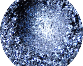 Blackout Blade - Silver and Blue Glitter Eyeshadow Pigment With Black Base Loose or Pressed