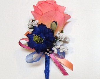 Pink-Peach and navy Blue Silk Flower Boutonniere-Pin on Boutonniere-Wedding-Prom-Graduation-Special Event Boutonniere-by Floramiagarden