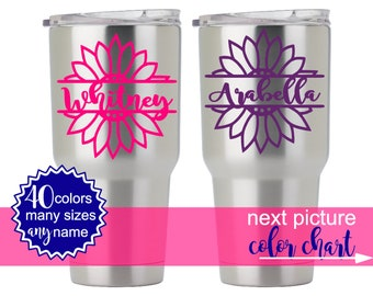 Flower Stickers for Yeti Cup, Floral Yeti Decal, Flower Decal for Yeti Cups, Yeti Decal Monogram Flower, Personalized Yeti DECAL ONLY 5FN3Y
