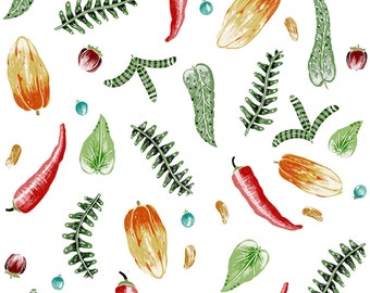 Falling Vegetables with reds greens and yellows available on a variety of fabrics