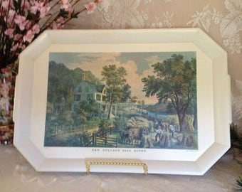 Waverly Plastic Vintage Serving Tray England Fall Scene