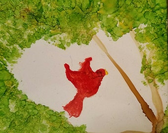 Red Bird Among the Trees painting in alcohol ink on tile