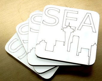 Seattle Coasters - 4 pack - Modern Coasters, Seattle Coasters, Space Needle Coasters, Beer Coasters, Wine Coasters, Laser Cut Coasters