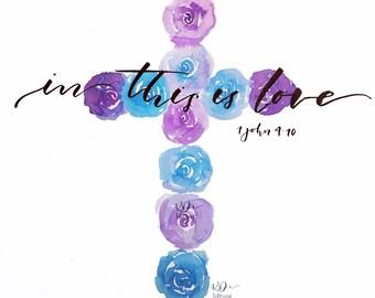 Floral Cross Print